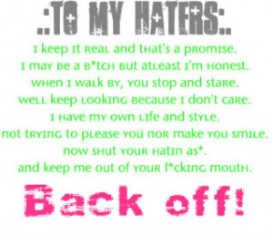 My Haters Quotes http://www.blingcheese.com/image/code/141/for+my ...