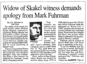 Widow of Skakel witness demands apology from Mark Fuhrman 2/28/01