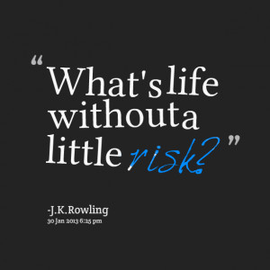 Quotes Picture: what's life without a little risk?