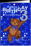 3rd Birthday Dancing Teddy Bear for Boy, Custom Text card - Product ...