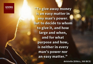 Giving To Charity Quotes Aristotle ethics