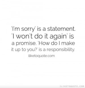 sorry' is a statement. 'I won't do it again' is a promise. 'Ho...
