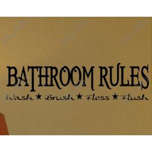 BATHROOM RULES DECAL WALL VINYL STICKER LETTER WORDS SAYINGS WASHROOM ...