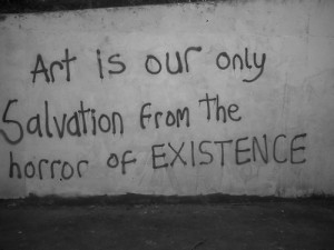 art, city, deep, downtown, existence, graffiti, grunge, love, quote ...