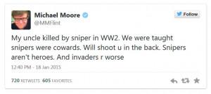 Michael Moore Chris Kyle Coward Tweet