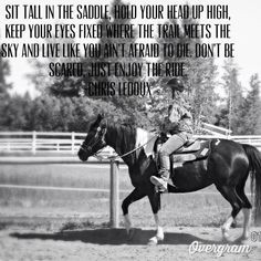 saddle, hold your head up high, keep your eyes fixed where the trail ...