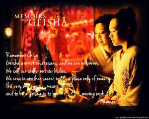 We do not become Geisha to pursue our own destinies.