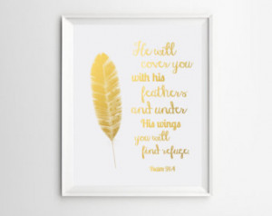 ... Decor, Psalm 91:4 He will cover you with his feathers, Christian Quote