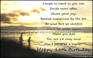 ... 18th birthday message card 18th birthday quotes happy happy birthday