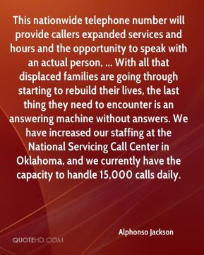 Alphonso Jackson - This nationwide telephone number will provide ...