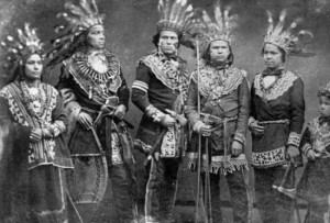 Photograph:A photograph from the 1800s shows Ojibwa with their weapons ...