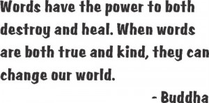 Words have power destroy heal Quote Wall Decal 12x12-