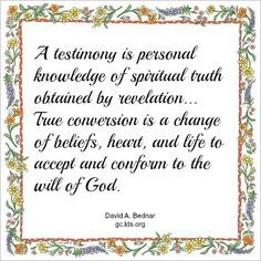 LDS Young Womens Lesson Handout: Testimony - Creations by Kara