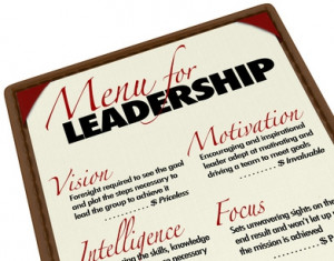 Menu for leadership listing all of the skills of a leader