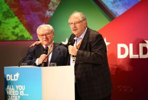 Yossi Vardi DLD chairmen Hubert Burda L and Yossi Vardi speak during