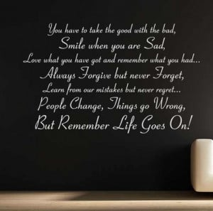 LIFE GOES ON WALL STICKER DECAL QUOTE WALL TATTOO INSPIRATIONAL ...
