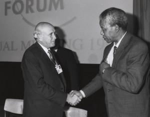 Description Frederik de Klerk with Nelson Mandela - World Economic ...