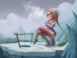 Funny Blonde Lord Ice Fishing Joke Cartoon Picture