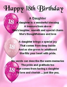 ... Magnet - Personalised - Daughter Poem - 18th Birthday + FREE GIFT BOX