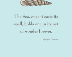 Print of quote by Jacques Cousteau,