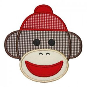 Sock Monkey Face Print Sock monkey applique