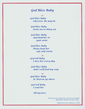 GOD BLESS BABY MEMORIAL POEM BY GEORGE LEON LOWE