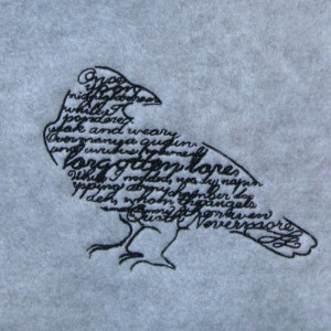 Raven with Poe Quote Embroidered Gray Fleece by CirclesOfStoneShop, $ ...
