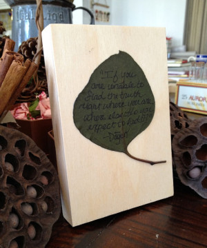 Zen Quote Leaf on Wood Block Wall Art - Pressed Preserved Eucaluptus ...