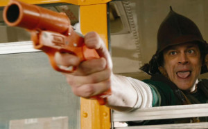 Lewis (Johnny Knoxville) has a Funny Gun in 'The Last Stand'