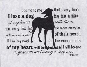 Dog Death Sympathy Greyhound dog sympathy card with envelope - heart ...