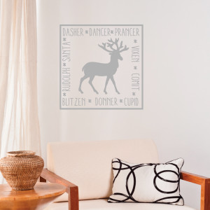 Square Reindeer Names Wall Quotes™ Decal