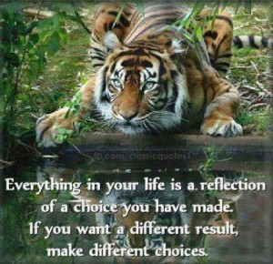 Everything in your life is a reflection of a choice you have made.If ...