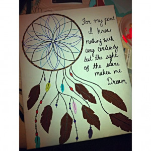 Dream catcher and quote on canvas