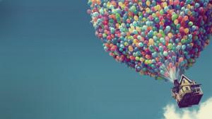 wallpaper, house, sky, balloons, pixar, disney, cartoon, movie