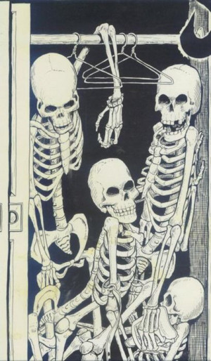 to have skeletons in the Closet = to have a hidden and shocking secret