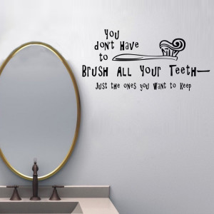 Brush Teeth funny Quote Vinyl wall sticker bathroom kids room decal ...