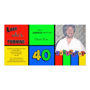 Colourful Look Whos Turning 40 Birthday Invite Personalised Photo Card