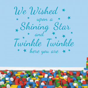 Sky Blue We Wished Upon A Shining Star decal in a playroom