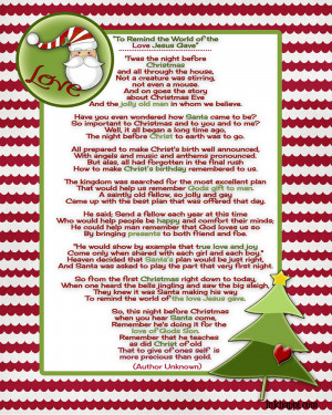 Santa and Christ come together in this beautiful Christmas poem. free ...