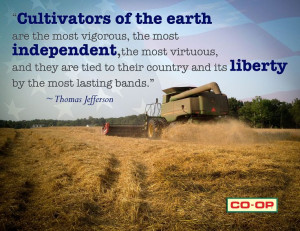 Patriotic quotation about agriculture from Thomas Jefferson.