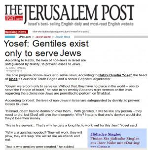 ... Rabbi Ovadia Yosef: Non-Jews Are Donkeys, Created To Serve Jews