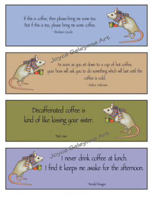 Printable Bookmarks, Funny COFFEE Quotes, Mouse: Instant Download