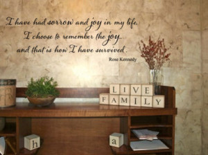 Have Had Sorrow And Joy Rose Kennedy Wall Decals - Trading Phrases