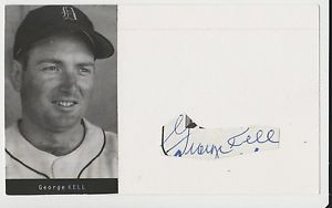 George Kell Autographed Picture Card Tigers JSA