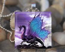 PURPLE DRAGON Fairy Tale Fantasy Gl ass Tile Pendant Necklace Keyring ...