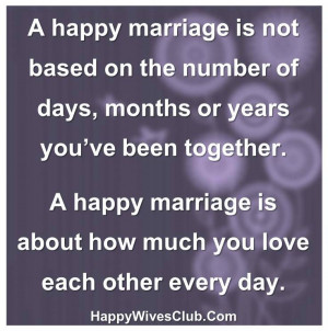 happy marriage is not based on the number of days, months or years ...
