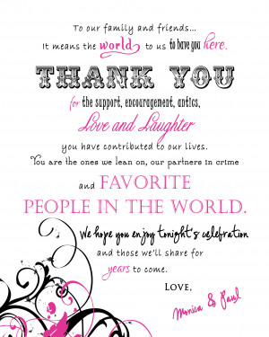 Thank you sign from First Impression Invitations