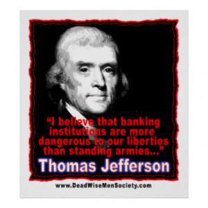 Thomas Jefferson Quote on Banking & Liberty Print