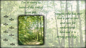 Sympathy Dog Loss Quotes Loss of your pet sympathy