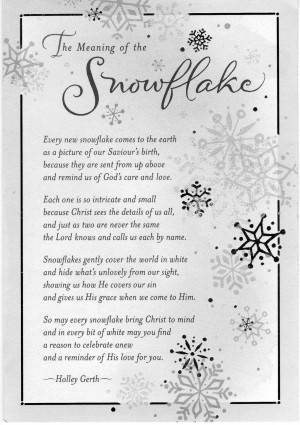cover the meaning of the snowflake every new snowflake comes to the